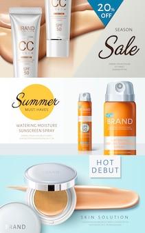 Trzy różne banery internetowe o tematyce kosmetycznej ze zdjęciami produktów