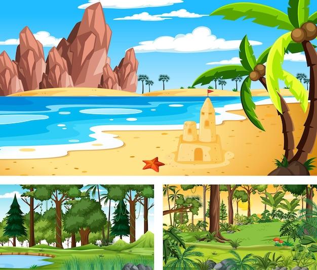 Trzy różne horyzontalne sceny natury