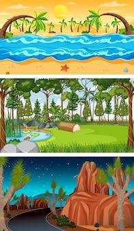 Trzy różne leśne sceny poziome