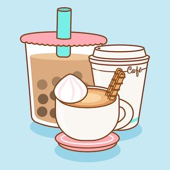 Trzy różne napoje kawowe wektor premium