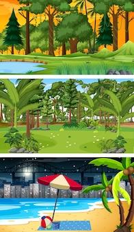 Trzy różne poziome sceny leśne