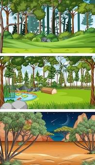 Trzy różne poziome sceny natury