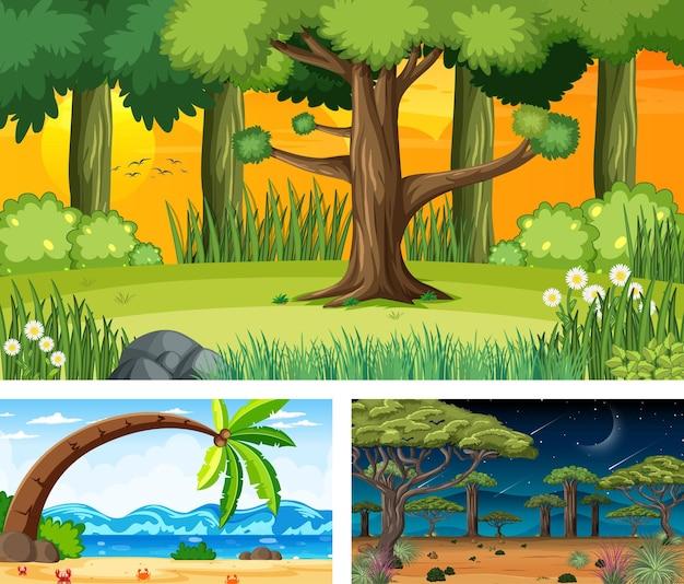 Trzy różne sceny z krajobrazem przyrody