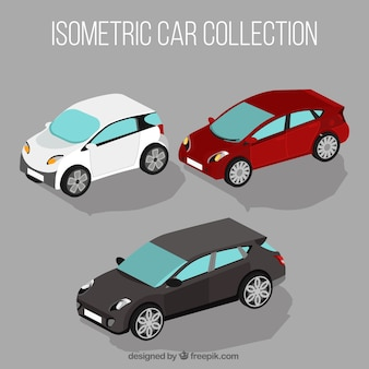 Trzy samochody w stylu izometrycznym