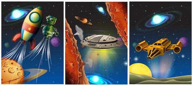 Trzy sceny ze statkiem kosmicznym i robotem w kosmosie