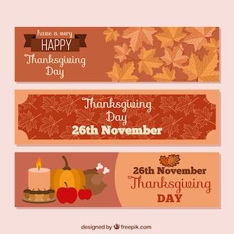 Trzy słodkie banery na dzień dziękczynienia