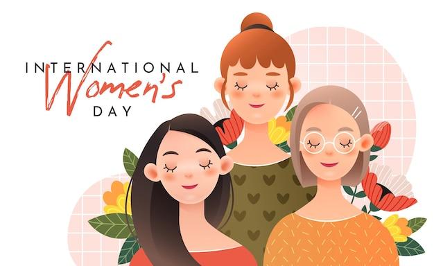 Trzy słodkie dziewczyny z napisem: międzynarodowy dzień kobiet