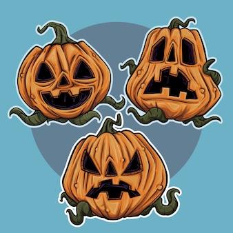 Trzy słodkie ilustracje halloween z dynią emoji