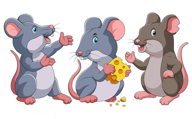 Trzy słodkie myszy kreskówki