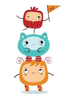 Trzy słodkie stworzenia mówiące cześć ilustracja wektorowa