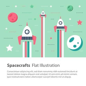 Trzy statki kosmiczne latające w kosmosie wśród gwiazd i planet, wyścig kosmiczny, ilustracja dzieci