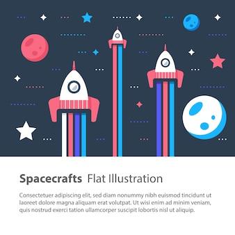 Trzy statki kosmiczne latające w kosmosie wśród gwiazd i planet, wyścig kosmiczny