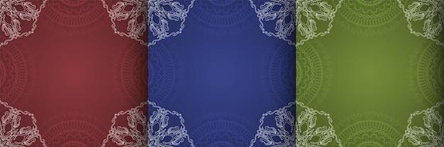 Trzy stylowe kolorowe dekoracyjne etniczne tło wektor
