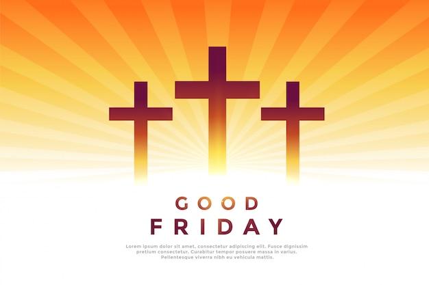 Trzy świecące symbole krzyża na dobry piątek