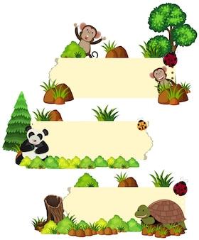 Trzy szablony bannerów z dzikimi zwierzętami