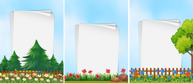 Trzy szablony papieru z tłem ogrodu
