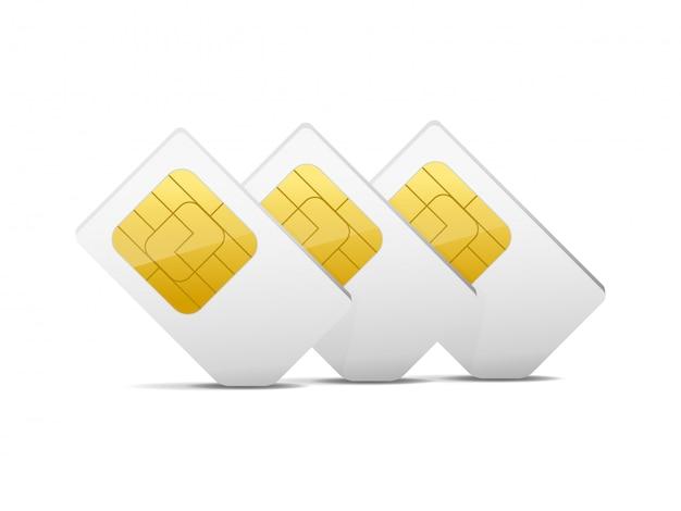 Trzy szare białe karty sim