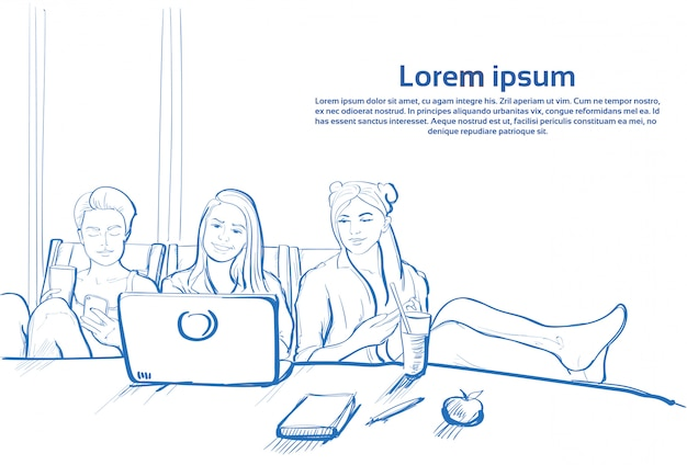 Trzy szkic dziewczyna siedzi razem przy użyciu komputera przenośnego na czacie na telefony komórkowe