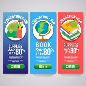 Trzy szkoły wakacje pionowy baner strony internetowej płaski styl