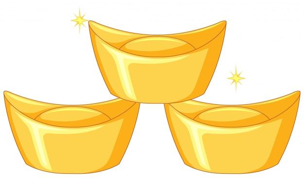 Trzy sztabki chińskiego złota