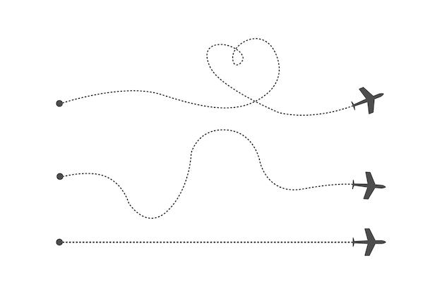 Trzy trasy czarnego samolotu są przedstawione na białym tle