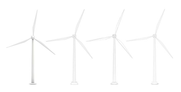 Trzy turbiny wiatrowe
