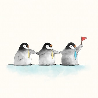 Trzy urocze pingwiny z flagą