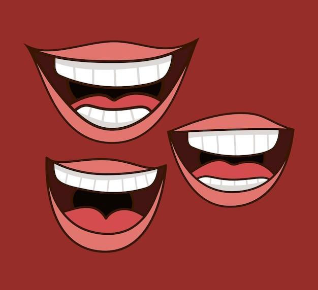 Trzy uśmiechnięte usta