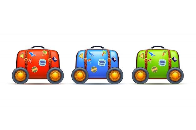 Trzy walizki na kółkach