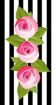 Trzy wektor kwiat głęboko różowa róża