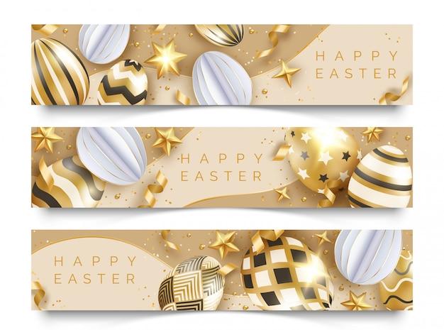 Trzy wielkanocne poziome bannery z realistycznymi złotymi jajkami, wstążkami, gwiazdkami i kulkami.