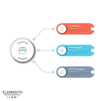 Trzy wielokolorowe zaokrąglone elementy z ikonami cienkiej linii i miejscem na tekst wewnątrz połączone liniami z głównym okręgiem. koncepcja 3 opcji do wyboru. szablon projektu plansza. ilustracja wektorowa.