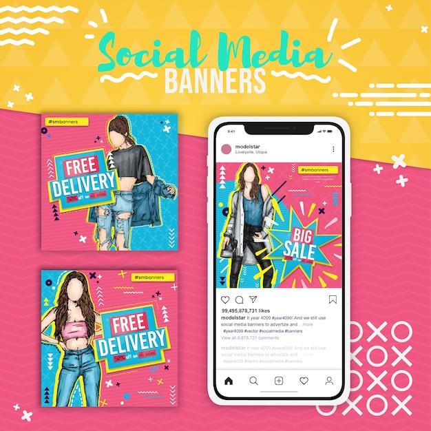 Trzy wyprzedaże mody, pop-arty, banery społecznościowe