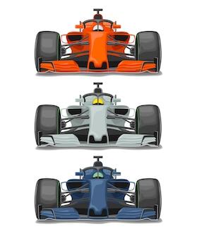 Trzy wyścigi samochodowe z widokiem z przodu. ilustracja wektorowa płaski kolor na białym tle