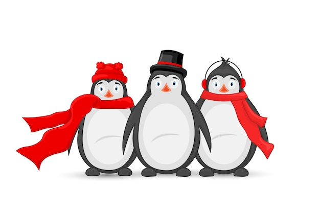 Trzy zimowe słuchawki z pingwinem polarnym, czapka, czapka i szalik.