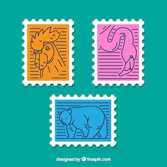 Trzy znaczki pocztowe ze zwierzętami