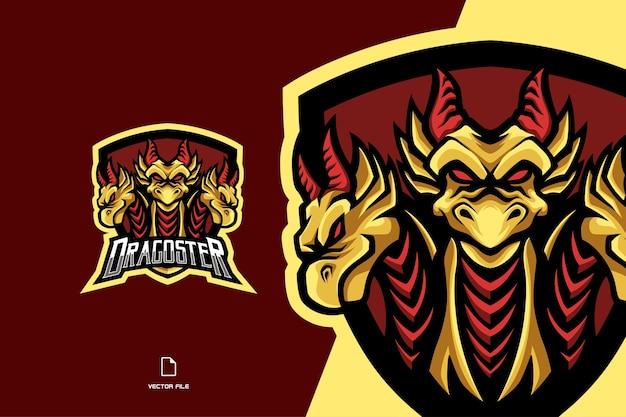 Trzy żółte głowy smoka maskotka esport gra logo postać ilustracja
