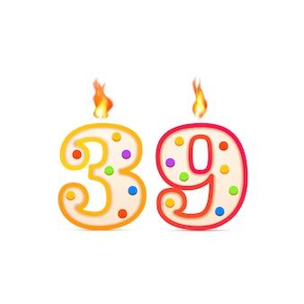 Trzydzieści dziewięć lat rocznica, świeca urodzinowa w kształcie 39 cyfr z ogniem na białym tle