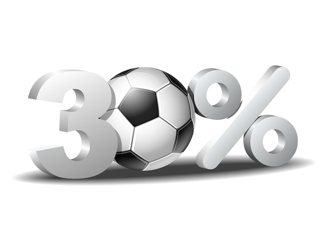 Trzydzieści procent zniżki ikona z piłką nożną