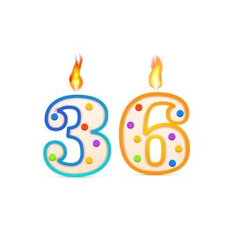 Trzydzieści sześć lat urodzinowa świeca urodzinowa w kształcie 36 cyfr z ogniem na białym tle