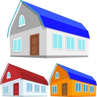 Trzykolorowa wersja domku lub domu prywatnego