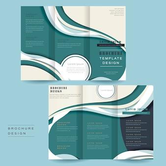 Trzykrotnie składany szablon broszury z opływowym wzorem w kolorze niebieskim i białym
