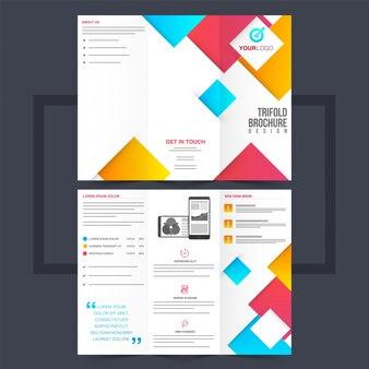Trzyletnia ulotka biznesowa lub projekt ulotki z kolorowymi kwadratowymi kształtami.