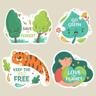 Trzymaj dziką wolność i naturę przy życiu ręcznie rysowane odznaki ekologii