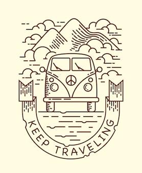Trzymaj podróżną ilustrację linii