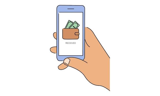 Trzymaj smartfon za rękę. konto w portfelu mobilnym