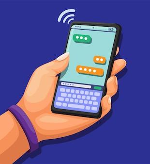 Trzymaj smartfon za rękę z dostawcą usług telefonii komórkowej na czacie
