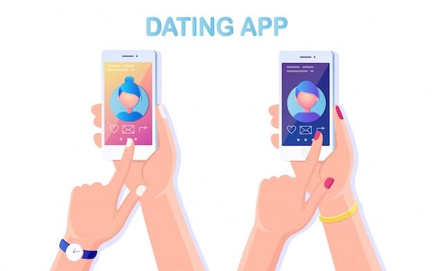 Trzymaj za rękę telefon komórkowy z profilem aplikacji randkowej na wyświetlaczu. wniosek o znalezienie miłości. witryna dla wyszukiwania pary.