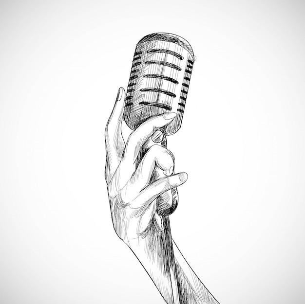 Trzymając mikrofon szkic białe tło