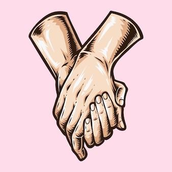 Trzymając rękę ikona logo wektor